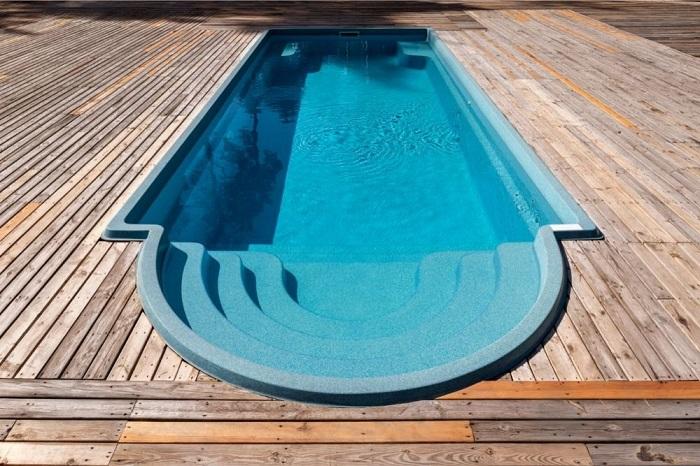 Wooden pool deck swimming pool