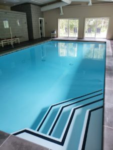 newly resurfaced pool using plaster