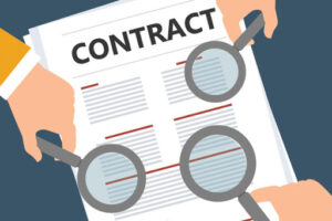 contract with three magnifying glasses